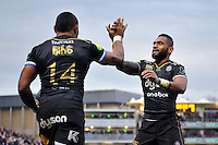 Semesa Rokoduguni of Bath Rugby celebrates his try with team-mate Niko Matawalu. European Rugby Champions Cup match, between Bath Rugby and Wasps on December 19, 2015 at the Recreation Ground in Bath, England. Photo by: Patrick Khachfe / Onside Images