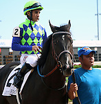 May 24, 2014 War Dancer, ridden by Alan Garcia, wins the G3 Louisville Handicap. The winner was owned by Diamond M Stable and trained by Ken McPeek.  The race was run in 2:28.23, a new stakes record.