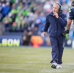 Seattle Seahawks  head coach Pete Carroll surveys the field during their NFC Championship game against the Green Bay Packers  at CenturyLink Field in Seattle, Washington on January 18, 2015.  The Seattle Seahawks beat the Green Bay Packers in overtime 28-22 for the NFC Championship Seattle.  ©2015. Photo by Jim Bryant, All Rights Reserved.