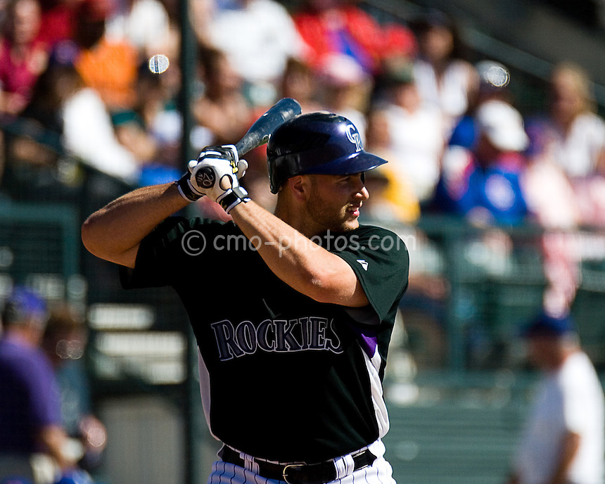 Mar 21, 2008; Tucson, AZ, USA;  Colorado Rockies catcher Chris Iannetta (20) waits on a pitch during a game against the Chicago Cubs at Hi Corbett Field.