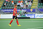The Hague, Netherlands, June 10: Jonghyun Jang #25 of Korea gestures during the field hockey group match (Men - Group B) between Germany and Korea on June 10, 2014 during the World Cup 2014 at Kyocera Stadium in The Hague, Netherlands. Final score 6-1 (3-0) (Photo by Dirk Markgraf / www.265-images.com) *** Local caption ***