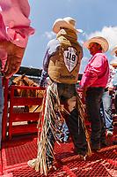 Ty Breuer,Mandan,ND, ready for ride bareback Riding at 2017 Cheyenne Frontyer days