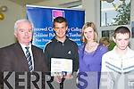 Listowel Community College: Pictured at the annual awards night at Listowel Community College on Thursday night last were Principle Sean McCarthy, Jack Kingston who is the first person in Ireland to win the Trident Award, Marie O'Keefe, Teacher Class 1B & Conor Boddy who won the School Specoial award.