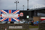 AFC Fylde 1, Aldershot Town 0, 14/03/2020. Mill Farm, National League. An exterior view of the stadium before AFC Fylde took on Aldershot Town in a National League game at Mill Farm, Wesham. The fixture was played against the backdrop of the total postponement of all Premier League and EFL football matches due to the the coronavirus outbreak. The home team won the match 1-0 with first-half goal by Danny Philliskirk watched by a crowd of 1668. Photo by Colin McPherson.