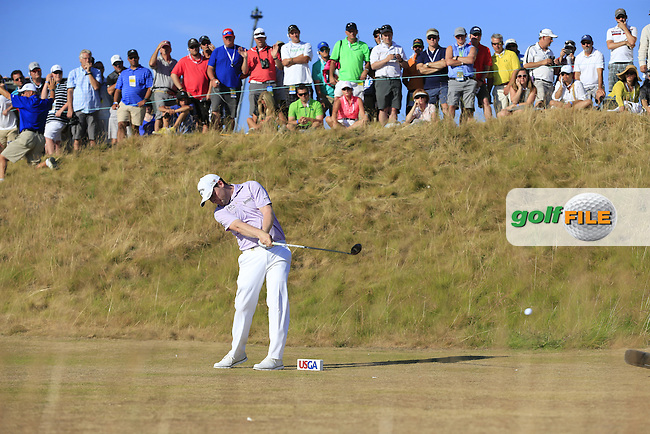 Branden GRACE (RSA) tees a 2nd ball off the 16th tee  during Sunday's Final Round of the 2015 U.S. Open 115th National Championship held at Chambers Bay, Seattle, Washington, USA. 6/22/2015.<br /> Picture: Golffile | Eoin Clarke<br /> <br /> <br /> <br /> <br /> All photo usage must carry mandatory copyright credit (&copy; Golffile | Eoin Clarke)