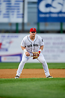 Binghamton Rumble Ponies third baseman Matt Oberste (45) during a game against the Erie SeaWolves on May 14, 2018 at NYSEG Stadium in Binghamton, New York.  Binghamton defeated Erie 6-5.  (Mike Janes/Four Seam Images)