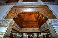 Berber arabesque interior decoration of  the Petite Court, Bahia Palace, Marrakesh, Morroco