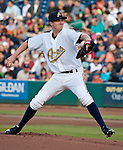 Reno Aces starting pitcher Charles Brewer throws against the Sacramento River Cats during their game played on Friday night, April 12, 2013 in Reno, Nevada.