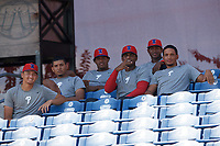 Philadelphia Phillies (L-R) Josh Gessner, Carlos Francisco-Rodriguez, Juan Geraldo, Jordi Martinez, Alejandro Made, and Jose Ulloa before an Instructional League intrasquad game on September 28, 2019 at Spectrum Field in Clearwater, Florida.  (Mike Janes/Four Seam Images)