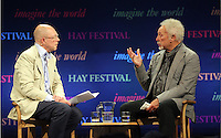 Hay on Wye. Sunday 05 June 2016<br /> Tom Jones (R) speaks to GQ editor Dylan Jones (L) about his book 'Over The Top And Back The Autobiography' at the Hay Festival, Hay on Wye, Wales, UK