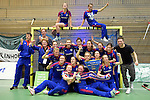 GER - Luebeck, Germany, February 07: Players of Mannheimer HC present and pose with the trophy after winning the Deutsche Meisterschaft during the prize giving ceremony at the Final 4 on February 7, 2016 at Hansehalle Luebeck in Luebeck, Germany. (Photo by Dirk Markgraf / www.265-images.com) *** Local caption ***