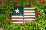 Architectural detail--stylized U.S. Flag in the small Custer County, Neb., town of Comstock--community flower garden