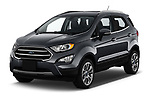 2018 Ford Ecosport Titanium 5 Door SUV angular front stock photos of front three quarter view
