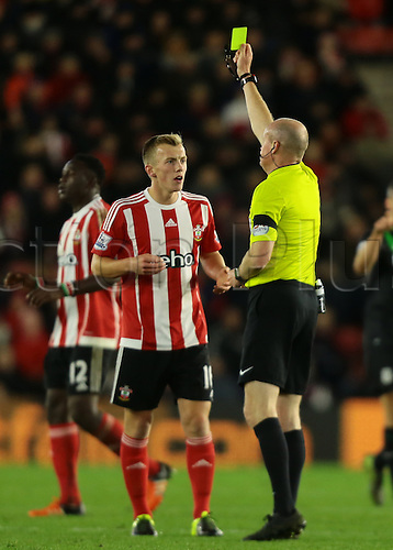 21.11.2015. St Marys Stadium, Southampton, England. Barclays Premier League. Southampton versus Stoke City.  James Ward-Prowse of Southampton receives a yellow card for a rough challenge on Stoke City Midfielder Charlie Adam
