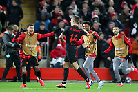 11th March 2020; Anfield, Liverpool, Merseyside, England; UEFA Champions League, Liverpool versus Atletico Madrid;  Marcos Llorente of Atletico Madrid's celebrates his 105th minute goal which gave  Atletico a 2-3 aggregate lead