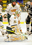 5 February 2011: University of Vermont Catamount goaltender Rob Madore, a Junior from Pittsburgh, PA makes a first period save against the Providence College Friars at Gutterson Fieldhouse in Burlington, Vermont. Madore made 31 saves for Vermont, moving the team ahead of Providence in league standings as the Catamounts defeated the Friars 7-1 in the second game of their weekend series. Mandatory Credit: Ed Wolfstein Photo