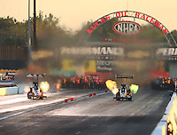 Sep 3, 2016; Clermont, IN, USA; NHRA top fuel driver Doug Kalitta (left) races alongside Terry McMillen during qualifying for the US Nationals at Lucas Oil Raceway. Mandatory Credit: Mark J. Rebilas-USA TODAY Sports