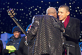 United States President Barack Obama greets musician B.B. King after he preformed during the National Christmas Tree lighting ceremony on the Ellipse near the White House in Washington, DC, on Thursday, December 9, 2010. The first Christmas tree lighting ceremony took place back in 1923, with U.S. President Calvin Coolidge presiding. .Credit: Andrew Harrer / Pool via CNP