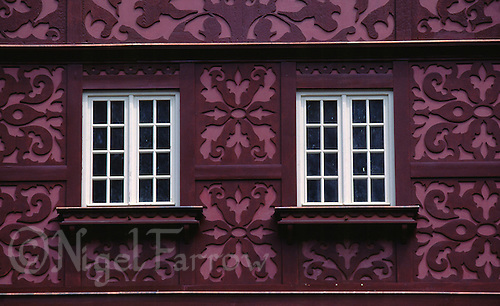 27 JUL 2000 - KARLOVY VARY, CZECH REPUBLIC - Artwork on the side of a house. (PHOTO (C) NIGEL FARROW)