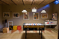 A games room has been created in the restored barn which houses the indoor swimming pool