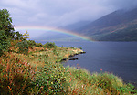 Rainbow arching over a lake in Denali National Park, Alaska.