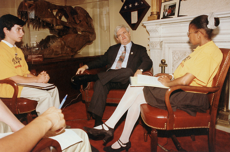 Josh Kretman, Newt Gingrich and Izetta Mobley. 1986 (Photo by Maureen Keating/ CQ Roll Call)