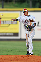 Greenville Astros shortstop Carlos Correa #12 warms up between innings during a game against the Burlington Royals at Pioneer Park on August 17, 2012 in Greenville, Tennessee. The Astros defeated the Royals 5-1. (Tony Farlow/Four Seam Images).