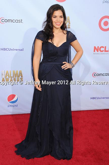 PASADENA, CA - SEPTEMBER 16: America Ferrera  arrives at the 2012 NCLR ALMA Awards at Pasadena Civic Auditorium on September 16, 2012 in Pasadena, California.