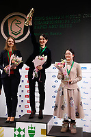 31st December 2019, Moscow, Russia; Gold medalist Kateryna Lagno C of Russia, silver medalist Anna Muzychuk L of Ukraine and bronze medalist Tan Zhongyi of China attend the awarding ceremony for the Blitz women event at 2019 King Salman World Rapid & Blitz Chess Championship in Moscow, Russia