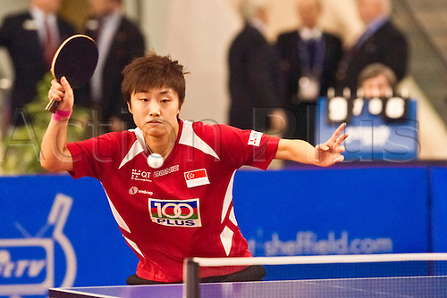 29.01.2011 English Open ITTF Pro Tour Table Tennis from the EIS in Sheffield. Tianwei Feng of Singapore