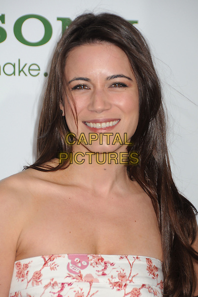 "NATHALIE FAY .Attending Columbia Pictures' premiere of ""The Green Hornet"" Los Angeles Premiere held at Grauman's Chinese Theatre, Hollywood, California, USA, 10th January 2011..portrait headshot strapless white pink print smiling red skull floral .CAP/ADM/BP.©Byron Purvis/AdMedia/Capital Pictures."