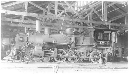 Fireman's-side view of engine #174 in the Alamosa shops for major work.<br /> D&amp;RGW  Alamosa, CO  Taken by Nixon, R. V. - 5/11/1933