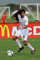 Carlos Martinez (8) of the USA. The US U-17 Men's National Team defeated the Development Academy Select Team 5-3 during day two of the US Soccer Development Academy  Spring Showcase in Sarasota, FL, on May 23, 2009.