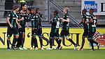 Nederland, Den Haag, 31 augustus 2012.Eredivisie .Seizoen 2012-2013.ADO Den Haag-FC Groningen (0-1).Spelers van FC Groningen juichen na een doelpunt van Tim Sparv (4e van l.)
