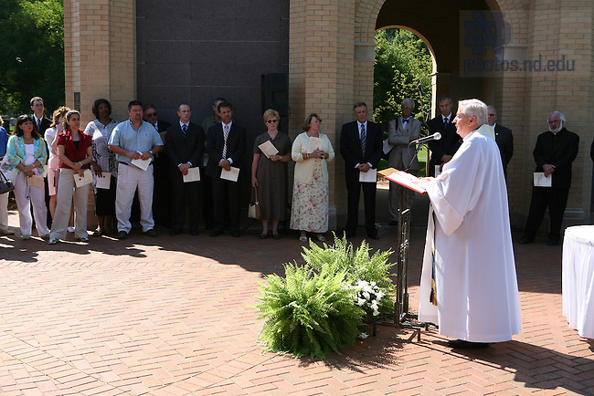 Rev. Richard Warner, C.S.C. speaks during the dedication and blessing of Our Lady of Sorrows at Cedar Grove Cemetery.