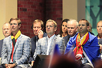 European Team Players Nicolas Colsaerts (BEL), Luke Donald (ENG) and Sergio Garcia (ESP) on stage at the Closing Ceremony after Sunday's Singles Matches of the 39th Ryder Cup at Medinah Country Club, Chicago, Illinois 30th September 2012 (Photo Colum Watts/www.golffile.ie)