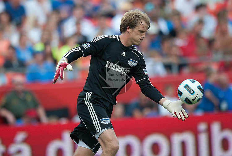 "July 25, 2010          Kansas City Wizards goalkeeper Jimmy Nielsen (1) tosses the ball up in the air to kick downfield in the second half.  The Kansas City Wizards of Major League Soccer defeated Manchester United of the English Premier League 2-1 in an international friendly game on Sunday July 25, 2010 at Arrowhead Stadium in Kansas City, Missouri.  The game is the third of four stops for Manchester United on their ""Tour 2010"" -- four games in North America."