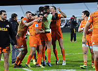 The Jaguares celebrate winning the Super Rugby match between the Chiefs and Jaguares at Rotorua International Stadum in Rotorua, New Zealand on Friday, 4 May 2018. Photo: Dave Lintott / lintottphoto.co.nz