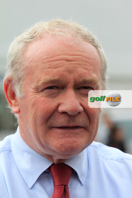 Martin McGuinness Deputy First Minister of Northern Ireland visitsthe course during the Pro-Am of the 2015 Dubai Duty Free Irish Open, Royal County Down Golf Club, Newcastle Co Down, Northern Ireland. 27/05/2015 <br /> Picture Eoin Clarke, www.golffile.ie