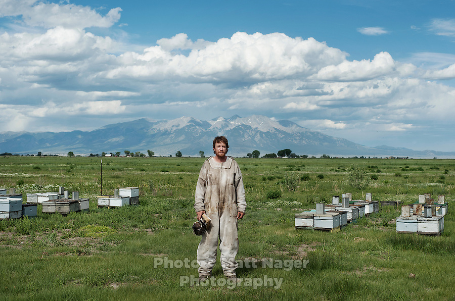Bee keeper Brent Edelen in his field near Alamosa, Colorado. Shot for CookingLight Magazine.