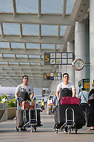 Passengers prepare to depart  Changi airport, Terminal 1, Singapore, 13 August 2015.