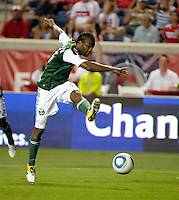 Portland forward Jorge Perlaza (15) fires a shot on goal.  The Portland Timbers defeated the Chicago Fire 1-0 at Toyota Park in Bridgeview, IL on July 16, 2011.