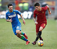 Calcio, Serie A: AS Roma - Sassuolo, Roma, stadio Olimpico, 30 dicembre 2017.<br /> Roma's Diego Perotti (r) in action with Sassuolo's Matteo Politano (l) during the Italian Serie A football match between AS Roma and Sassuolo at Rome's Olympic stadium, 30 December 2017.<br /> UPDATE IMAGES PRESS/Isabella Bonotto