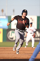 Drew Jackson (7) of the Bakersfield Blaze runs the bases during a game against the Lancaster JetHawks at The Hanger on June 18, 2016 in Lancaster, California. Bakersfield defeated Lancaster, 10-7. (Larry Goren/Four Seam Images)