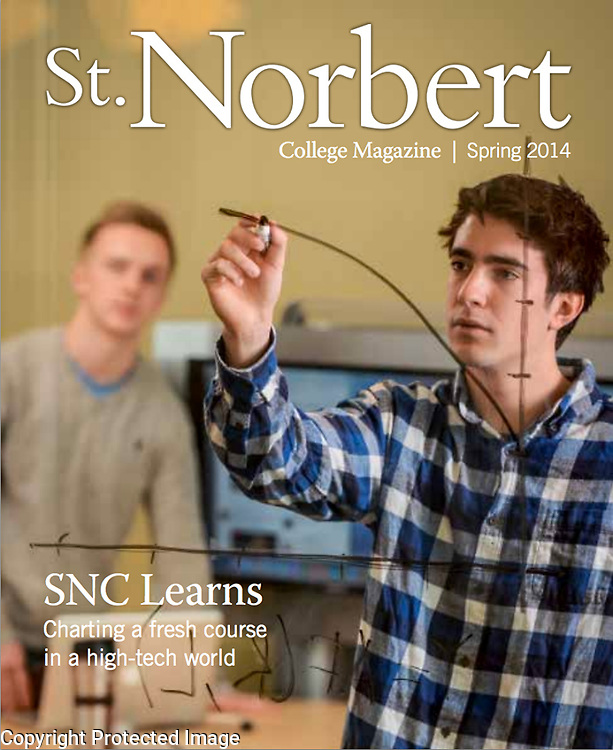 St. Norbert College Magazine's Spring 2014 cover. Photo by Corey Wilson
