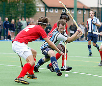 Ian Roberts lines up a shot for Hampstead during the England Hockey League Mens Premier Division game between Hampstead & Westminster against Canterbury at The Paddington Recreation Ground, Maida Vale on Sat Sept 25, 2010