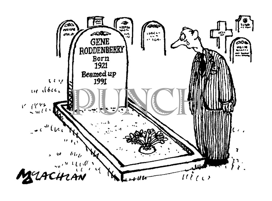 (The grave of Star Trek creator Gene Roddenberry. The tombstone reads 'Gene Roddenberry Born 1921 Beamed Up 1991')