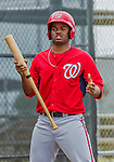 6 March 2015: Washington Nationals pitcher and Baseball America prospect Reynaldo Lopez works on bunting skills during Spring Training at the Carl Barger Baseball Complex in Viera, Florida. Mandatory Credit: Ed Wolfstein Photo *** RAW (NEF) Image File Available ***