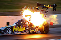 May 13, 2016; Commerce, GA, USA; NHRA top fuel driver Leah Pritchett explodes an engine on fire during qualifying for the Southern Nationals at Atlanta Dragway. Mandatory Credit: Mark J. Rebilas-USA TODAY Sports