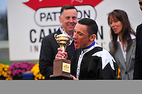 Joshua Tree (IRE)(8) with Jockey Lanfranco Dettori celebrates victory at Pattison Canadian International  in Toronto, Canada on October 14, 2012.